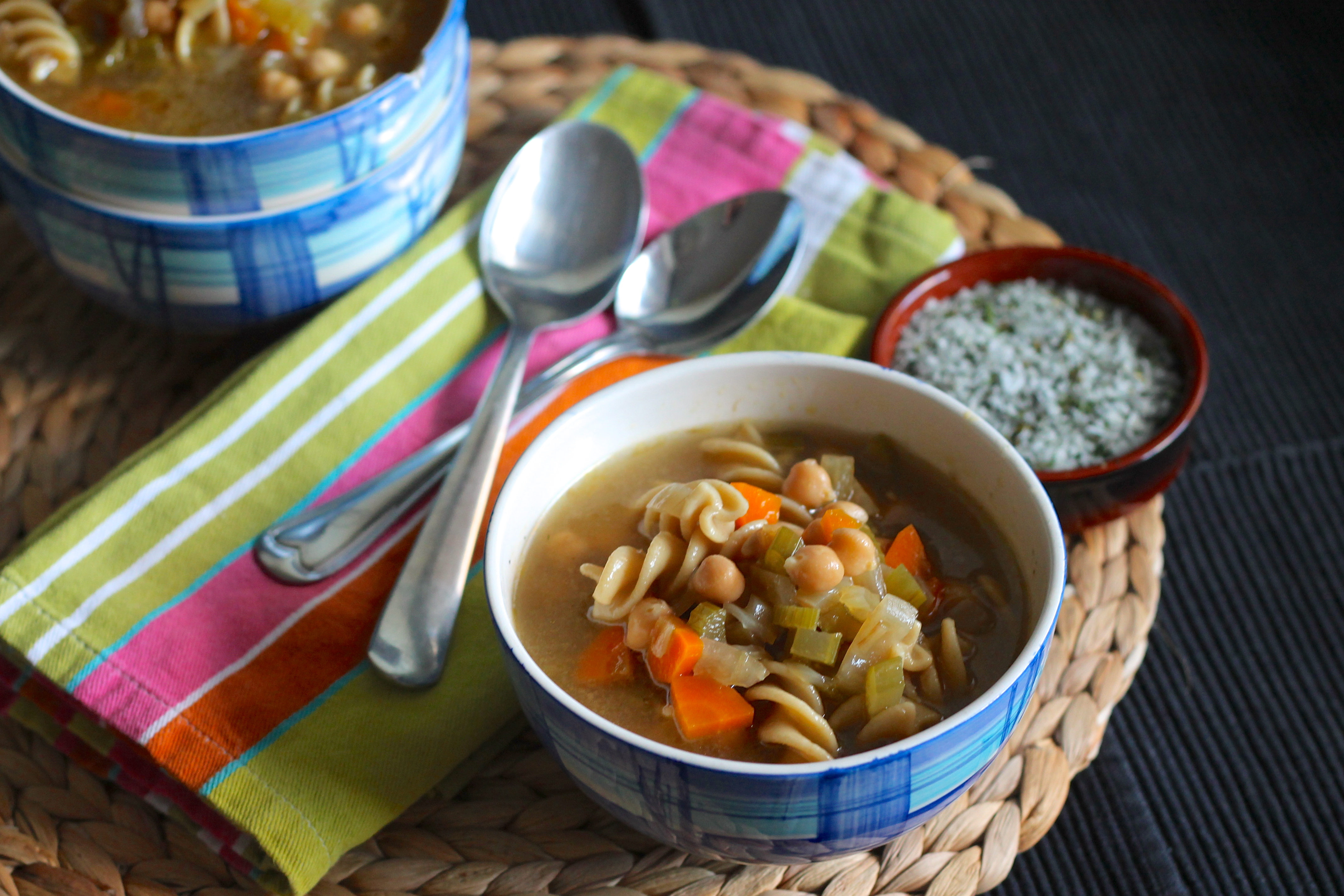 Hearty and nutritious vegetarian chickpea noodle soup
