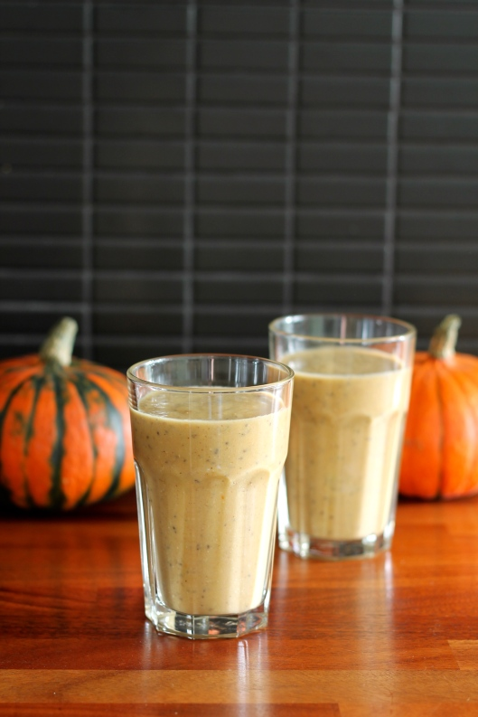 Nutritious pumpkin smoothie with yoghurt and chia seeds