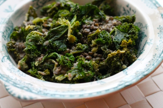 kale and lentils with tahini sauce