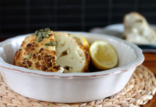 whole roasted cauliflower with lemon and capers