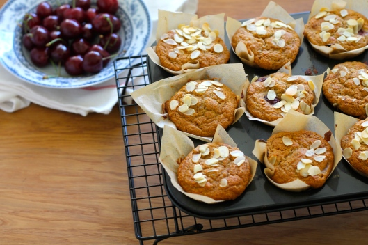 almond pulp cherry chia muffins // the muffin myth